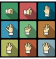 Hand gestures UI design elements squared shadows vector image