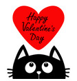happy valentines day text black cat looking up to vector image