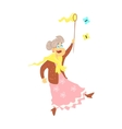 Old Lady Catching Butterflies vector image