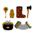 Russian souvenir set Khokhloma painting Russia vector image
