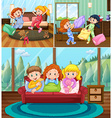 Girls at slumber party in the house vector image