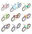 isometric bicycle set with mountain bike vector image