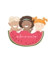 Funny children eating watermelon vector image
