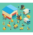 Isometric moving cargo and warehousing employees vector image vector image