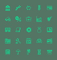 Banking and financial green color line icons vector image