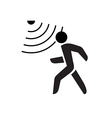 Walking man symbol with motion sensor waves signal vector image