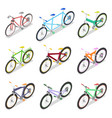 isometric bicycle set with mountain bike vector image