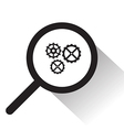 magnifying glass with Gear icon vector image