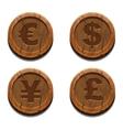 Main currencies symbols wooden coins vector image