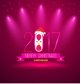 Pink Merry chrisoms and happy new year 2017 card vector image