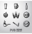 Pub beer handdrawn icons set vector image