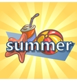 Summer background with ball starfish and drink vector image