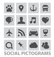 abstract social pictograms symbols set isolated vector image