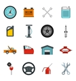 Car maintenance and repair icons set flat style vector image