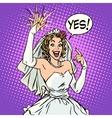 Happy bride with a wedding ring vector image