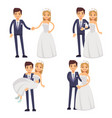 cartoon wedding couple just married vector image