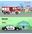 Fire Truck Driving to the and Police Car vector image