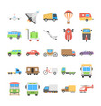 flat icons set of transport vector image