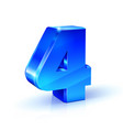 Glossy blue four 4 number 3d on vector image