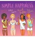 Happy girls enjoying delicious snacks vector image
