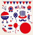 Independence day retro icons vector image