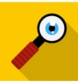 Magnifying glass with eye ball icon flat style vector image