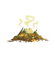 Pile of decaying garbage waste processing and vector image