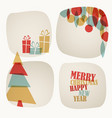 retro christmas card with christmas tree gifts vector image