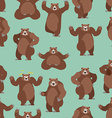Bear seamless pattern Grizzly ornament Set wild vector image
