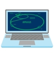 Laptop with Large Hadron Collider scheme on screen vector image vector image