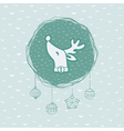 Christmas and New Year round frame with deer head vector image
