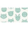 Animal paper cut seamless pattern vector image
