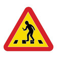 traffic sign warning pedestrian smartphone vector image