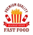 Fast food cafe symbol with takeaway french fries vector image