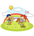 Boy and girl on rocking horse vector image vector image