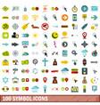 100 symbol icons set flat style vector image