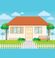 family house and garden home exterior vector image