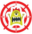 target with monster flat style lime green color vector image