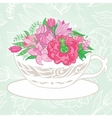 Creative with Teacup Full of Flowers vector image