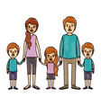 color crayon stripe cartoon family with young vector image