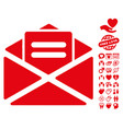 open mail icon with valentine bonus vector image