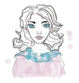 portrait of a genteel girl woman cute face vector image