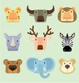 wild animals face vector image