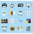 Printing icons set flat style vector image