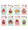 Cake cupcake muffin and waffle banners vector image vector image