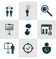set of 9 authority icons includes project vector image