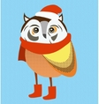 Christmas owl wearing red santa hat and scarf vector image