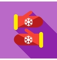 Knitted christmas mittens icon flat style vector image