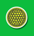 paper sticker on stylish background golf ball vector image