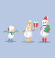 snowman cute family cartoon winter vector image